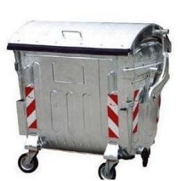Kontejner za smeće 1,1 m³, metalni pocinkovan, okrugli poklopac